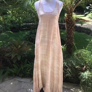 Ava Sky Silk t-back Maxi Dress Sz S